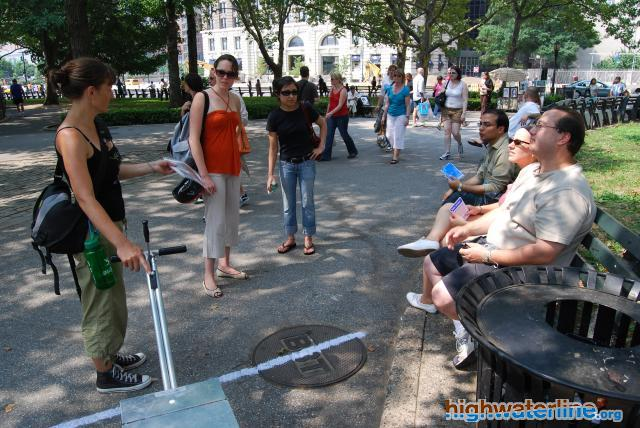 Eve Mosher in NYC park as she explains the HighWaterLine project - Credit photo HighWaterLine NYC/Hose Cedano